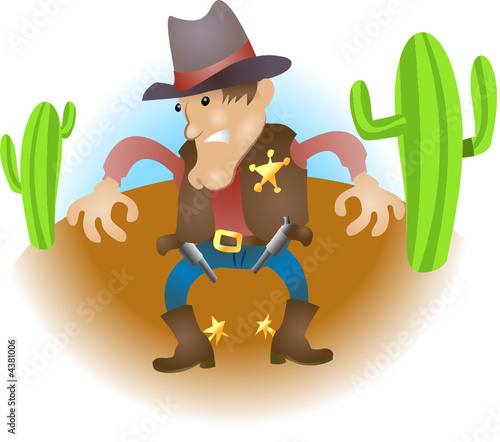 Aluminium Prints Wild West Cowboy illustration