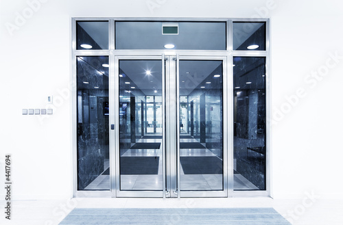 glass doors in an office Canvas Print