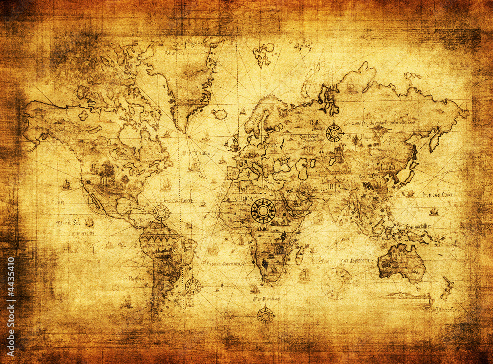 Fototapety, obrazy: ancient map of the world