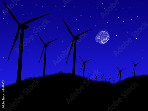 Photo Wind farm at night