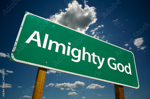 """""""Almighty God"""" Road Sign with dramatic clouds and sky. Canvas Print"""