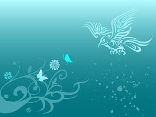 Fototapeta na wymiar Beautiful wallpaper with flower and eagle