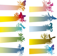 Colorful Banners With Animal S...