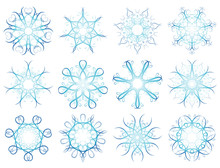 Twelve Snowflakes,vector Illustration