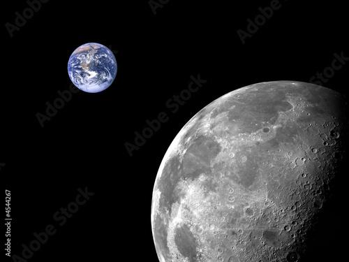 einzelne bedruckte Lamellen - Mond und Erde (von Loocid GmbH)
