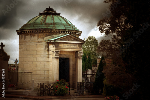 Mausoleum in Ancient Graveyard in France with Film Grain Effect