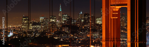 Poster San Francisco Golden Gate Bridge and San Francisco at night panorama