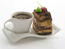 Cup Of Coffee And Tasty Chocolate Cake