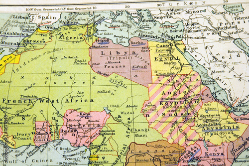 Foto  Old Map of North Africa - Egypt