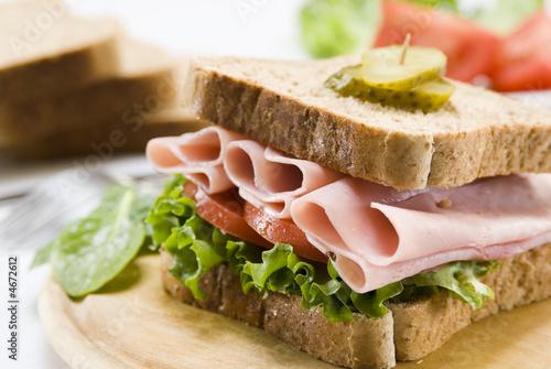 Staande foto Snack ham sandwich