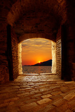 Sunset Through The Old Castle
