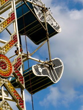 Carnival Ride With Brightly Colored Neon Lights