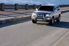 Big Suv Car Drives On Asphalt ...