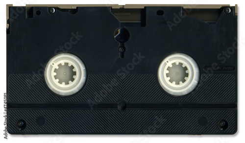 Valokuva  Old video cassette tape back including clipping path