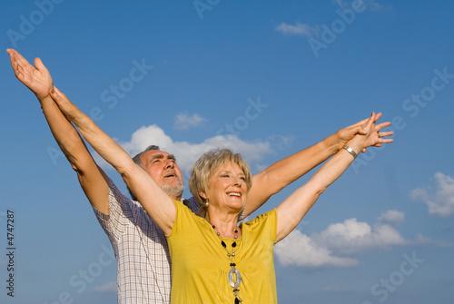Canvas Print happiness,faith and joy, senior couple