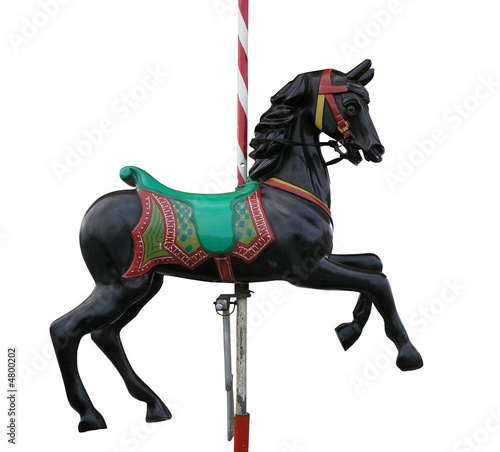 Black Merry-Go-Round Horse with clipping path Canvas-taulu