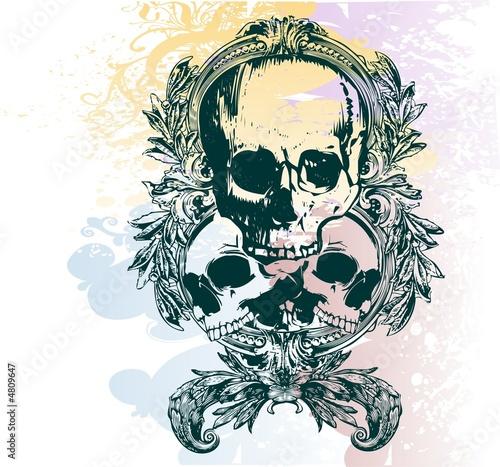 Printed kitchen splashbacks Floral skull illustration