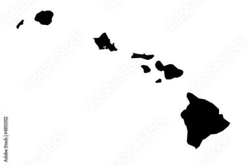 Odosobniona czarno-biała mapa Hawajów