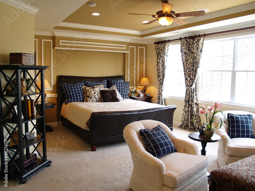 Photo  Black and Blue Master Bedroom