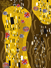 Panel Szklany Malarstwo klimt inspired abstract art