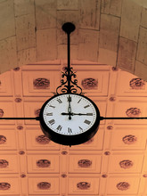 Antique Clock In Train Station