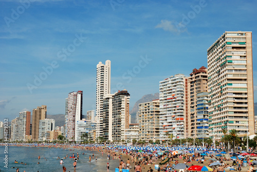 Beach in Mediterranean resort Benidorm, Spain