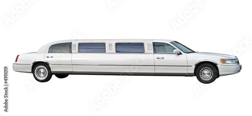 Photographie White stretched limousine for celebrities and special events