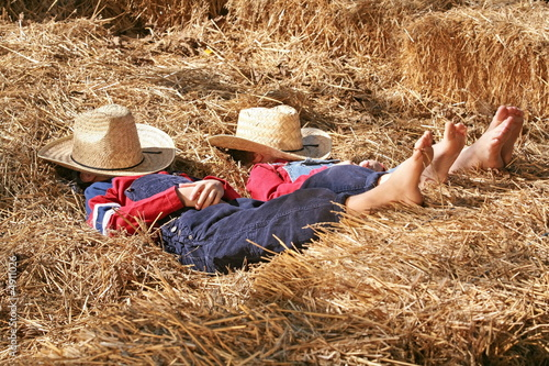 Photo  Farmers Asleep in the Hay