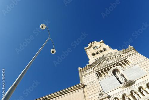 Fényképezés  Adrano church Santa Chiara and street lamp
