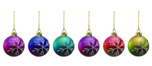 Christmas Balls Of Various Colours Isolated On White