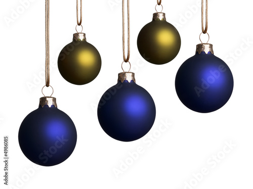 five blue and gold christmas ornaments