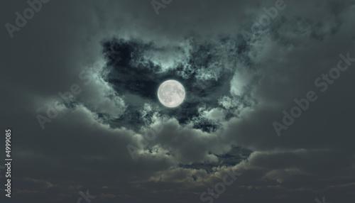 Fototapety, obrazy: Misty moon on the cloudy sky