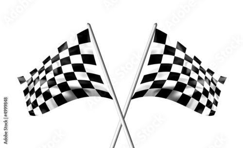 Staande foto F1 Rippled black and white crossed chequered flags