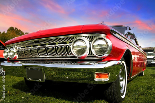 Photo Stands Old cars Red Muscle Car