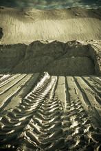 Prints Of Wheels On Sand