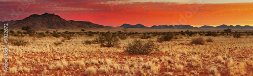 Foto op Plexiglas Zandwoestijn Colorful sunset in Kalahari Desert, Namibia