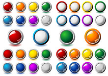 Suit Of Interface Round Buttons With Different Colors