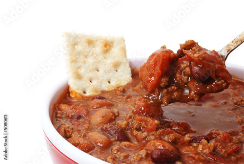 Canvas Print Chili with Beans and Cracker