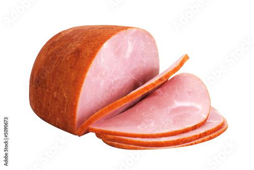 Fotografie, Obraz  Sliced Ham Isolated