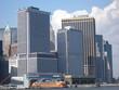 skyline der wolkenkratzer in new york mit halbinsel manhattan