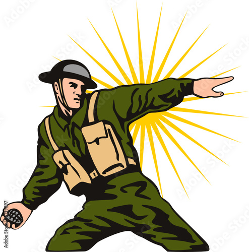 Poster Militaire World war two solider throwing a grenade