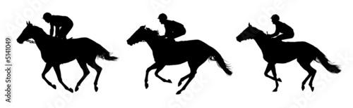Tablou Canvas Very detailed vector of  jockeys and horses