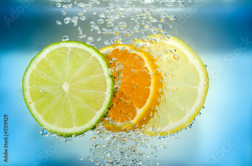 Aluminium Prints Slices of fruit Citrus slice in water