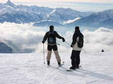 Skieurs Haute Montagne - Concept Entraide, Risque, Equipe