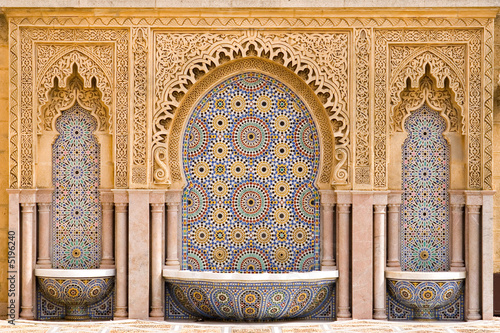 Spoed Foto op Canvas Marokko Typical moroccan tiled fountain in the city of Rabat, near the H