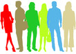 businessmen and businesswomen color silhouettes