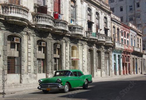 Deurstickers Cubaanse oldtimers Havana Street