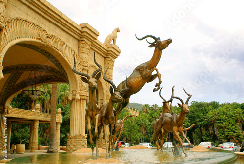 Canvas Prints South Africa Fountain - entrance to Lost City Hotel at Sun City, South Africa