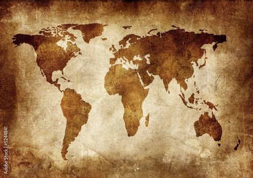 Spoed Foto op Canvas Wereldkaart Grunge background