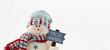 muñeco de nieve con un letrero de feliz navidad